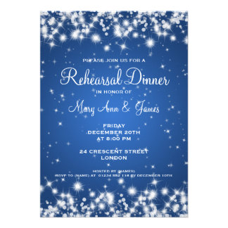 Wedding Rehearsal Dinner Winter Sparkle Blue Personalized Invites
