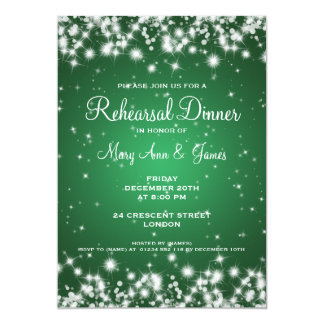 Wedding Rehearsal Dinner Winter Sparkle Green Card
