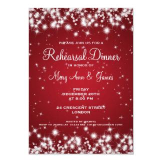 Wedding Rehearsal Dinner Winter Sparkle Red Card