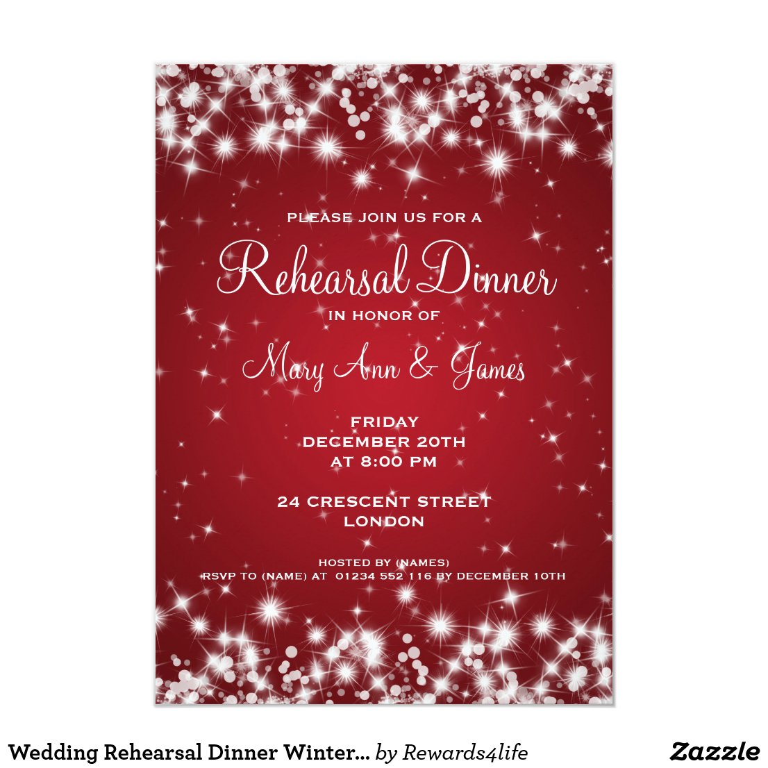 Wedding Rehearsal Dinner Winter Sparkle Red Invitation