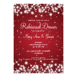 Wedding Rehearsal Dinner Winter Sparkle Red Invitation