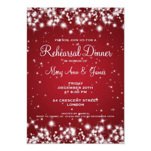 Wedding Rehearsal Dinner Winter Sparkle Red Custom Announcement