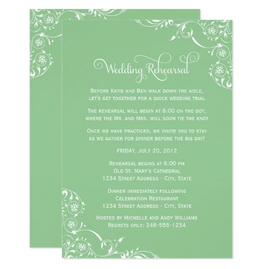 Wedding Rehearsal Elegant Scrolls Mint Green Invitation