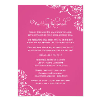 Wedding Rehearsal | Magenta Pink Scroll Card
