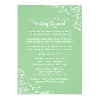 Wedding Rehearsal | Mint Green Scroll Card