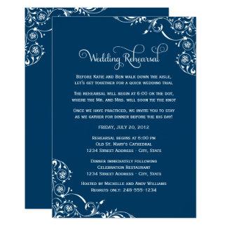Wedding Rehearsal | Navy Blue Scroll Card