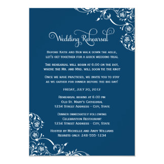 Wedding Rehearsal | Navy Blue Scroll Card