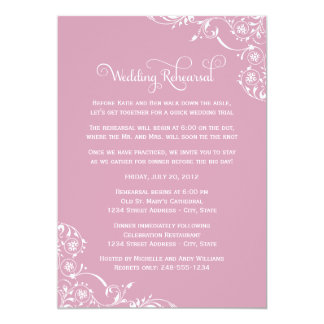 Wedding Rehearsal | Rose Pink Scroll Card