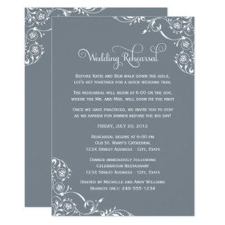 Wedding Rehearsal | Slate Gray Scroll Card