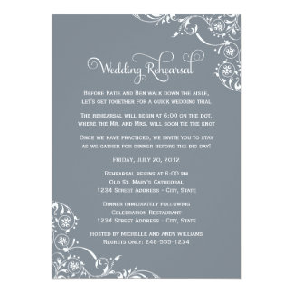 Wedding Rehearsal | Slate Gray Scroll Card