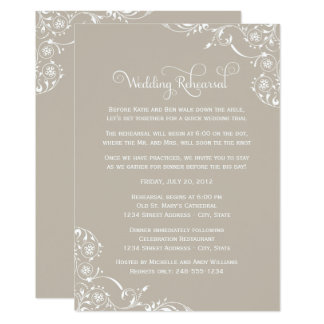 Wedding Rehearsal | Taupe Gray Scroll Card