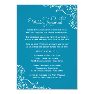 Wedding Rehearsal | Teal Blue Scroll Card