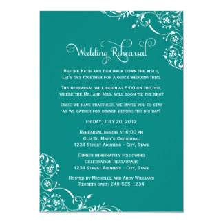 Wedding Rehearsal | Teal Green Scroll Card