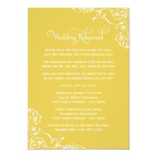 Wedding Rehearsal | Yellow Scroll Card