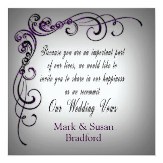 Wedding Renewal - Gray Purple Border Card