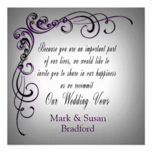Invitation for wedding renewal of vows with fancy purple border