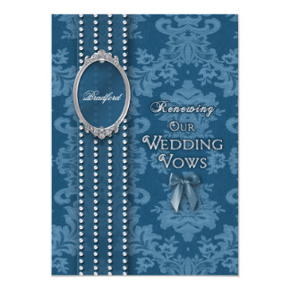 WEDDING RENEWAL INVITATION VINTAGE BLUE DESIGN ANNOUNCEMENT