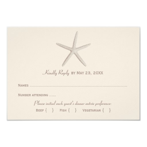 Wedding Reply Card 2 | Neutral Starfish Personalized Announcement
