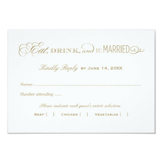 Wedding Reply Card | Antique Gold