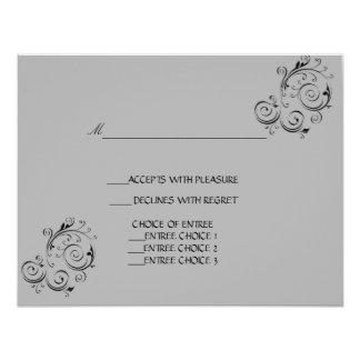 Wedding reply card modern gray and black