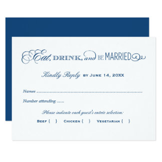 Wedding Reply Card | Navy Blue