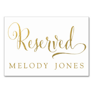Wedding Reserved Place Cards Gold Personalized