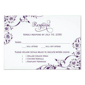 Wedding Response Card | Dark Purple Scroll