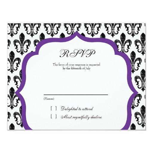 "Wedding Response Card | New Orleans | Purple 4.25"" X 5.5"" Invitation Card"