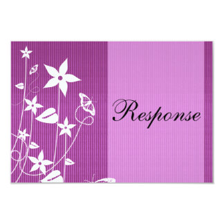 Wedding Response Card | Pink Flower Butterfly