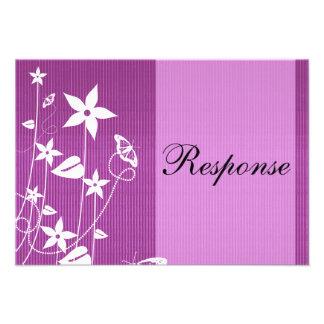 Wedding Response Card Pink Flower Butterfly