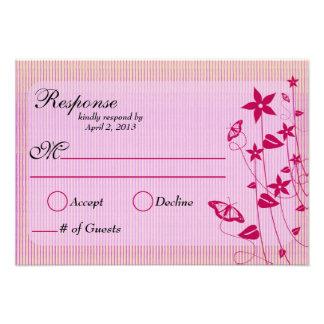 Wedding Response Card Pink Red Flower Butterfl