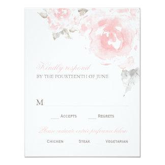 Wedding Response Card | Pink Watercolor Roses