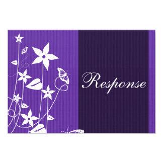 Wedding Response Card Purple Flower Butterfly