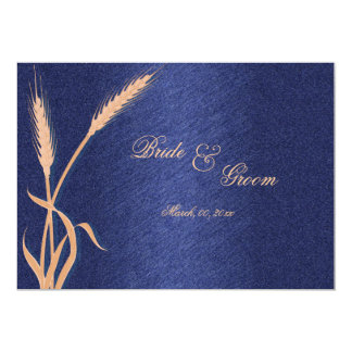 "Wedding ""response cards"" blue cream two 5x7 paper invitation card"