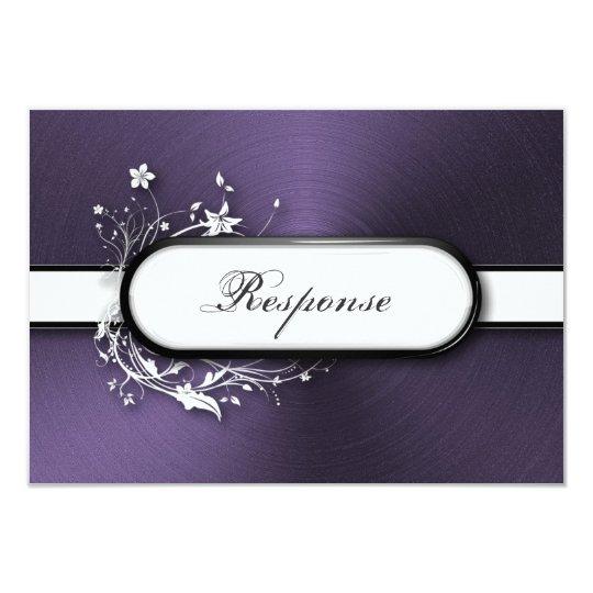 Wedding Response RSVP Bold Metallic Floral Frame Card