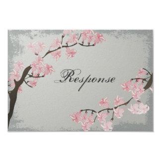 Wedding Response RSVP Card - Pink Cherry Blossom Invitation
