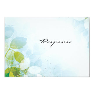 "Wedding Response RSVP Card Pretty Delicate Leaves 3.5"" X 5"" Invitation Card"