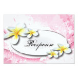 "Wedding Response RSVP Card Pretty Plumeria Pink 3.5"" X 5"" Invitation Card"