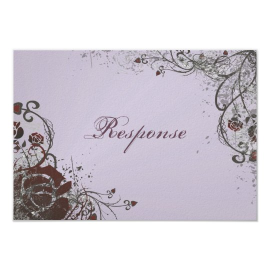 Wedding Response RSVP Card - Red Shattered Rose