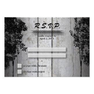 Wedding Response RSVP Card Rustic Board Deer Trees
