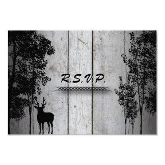 Wedding Response RSVP Card Rustic Board Deer Trees Announcement
