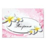 "Wedding Response RSVP Card Tropical Plumeria Pink 3.5"" X 5"" Invitation Card"