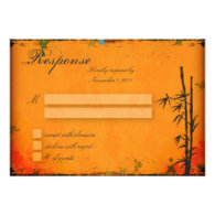 Wedding Response RSVP Card - Vintage Asian Bamboo