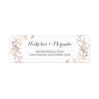wedding return address labels, laurel, rose gold label