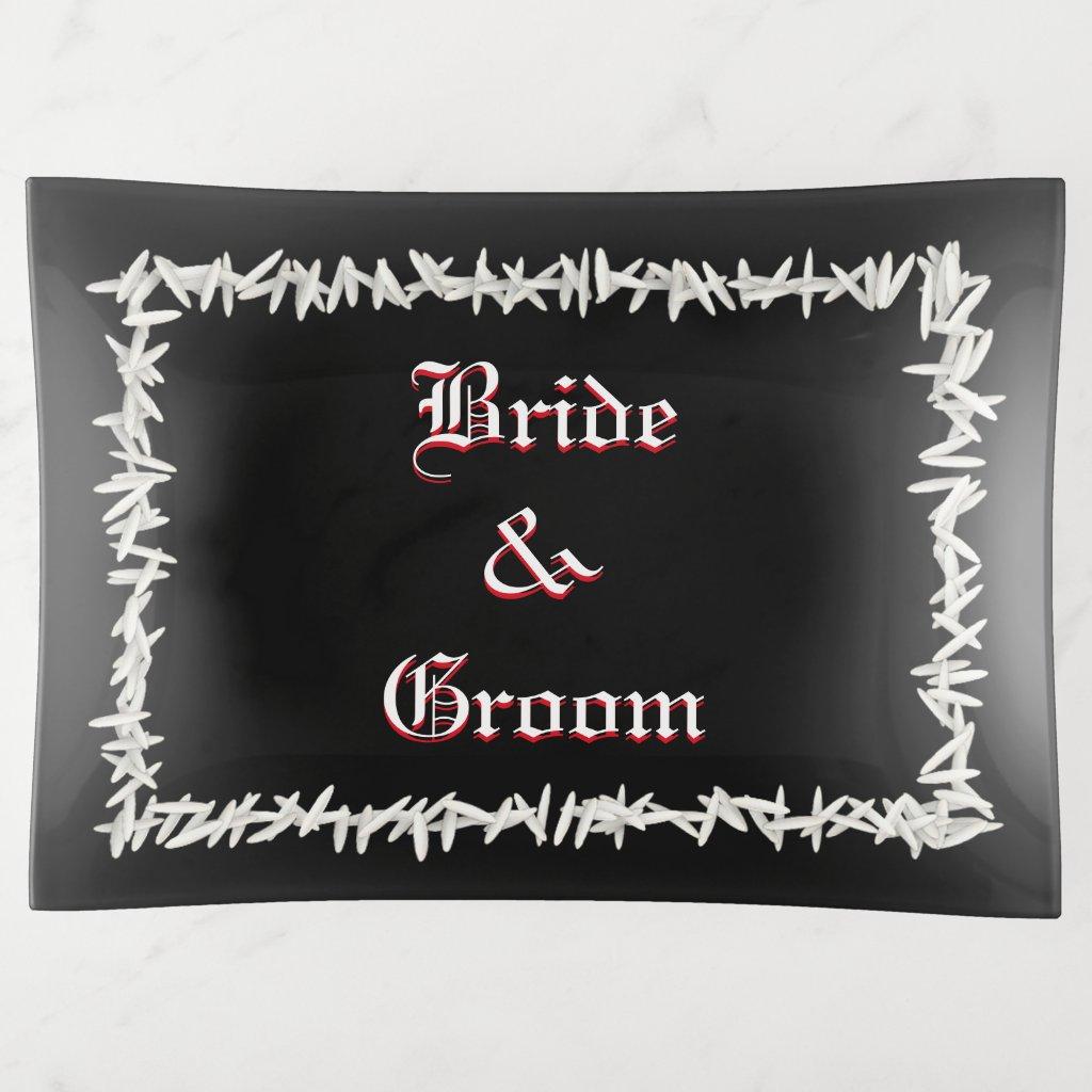 Wedding Rice Bride And Groom Trinket Trays