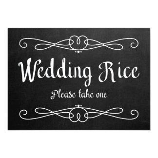 """Wedding Rice"" Chalkboard Wedding Sign Card"