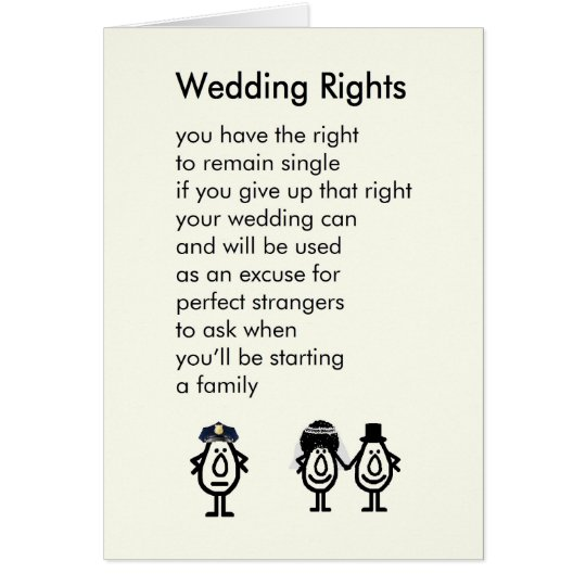 A Wedding Congratulations Poem Card
