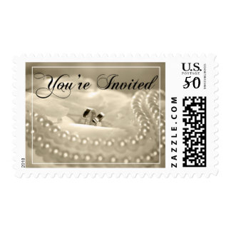 Wedding Ring And Pearls Postage Stamp