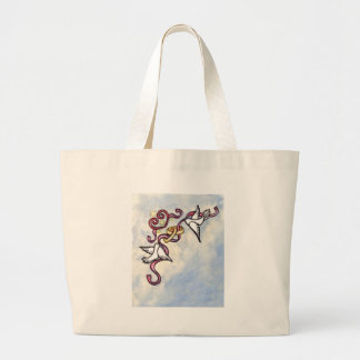 Wedding ring doves tote bags