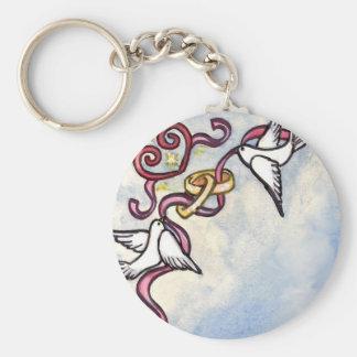 Wedding ring doves keychain